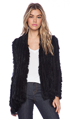 ELLIATT x REVOLVE Woven Rabbit Fur Jacket in Black