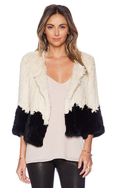 ELLIATT Contrast Rabbit Fur Jacket in Antique Beige