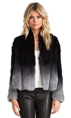 ELLIATT Angel Fur Jacket in Grey Dip Dye