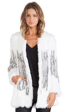 ELLIATT The Scene Rabbit Fur Jacket in Winter White