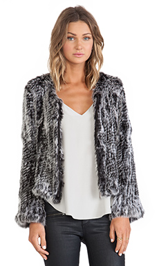 ELLIATT Shutter Fur Jacket in Feckled Charcoal
