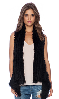 ELLIATT Charlotte's Friend Rabbit Fur Vest in Black