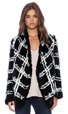 ELLIATT Arizona Check Rabbit Fur Jacket in Check