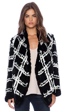 ELLIATT Arizona Check Rabbit Fur Jacket in Check