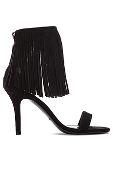 elysewalker los angeles Suede Fringe Heel in Black Suede