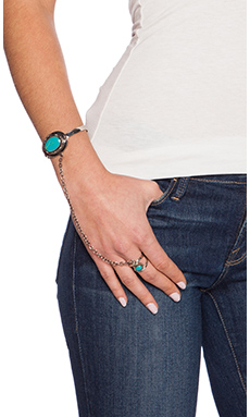 Emerald Duv Pismo Hand Chain in Silver & Turquoise