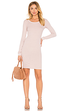 Pima Stretch Jersey Back Slit Dress in Orange. - size L (also in M,S,XS) Enza Costa