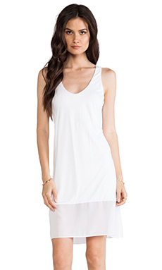 Enza Costa Chiffon Panel Racer dress in White
