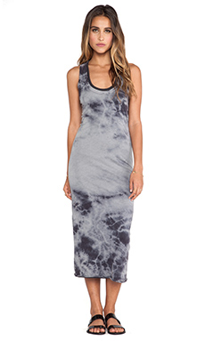 Enza Costa Ionic Wash Bold Doubled Tank Dress in Steel Grey & Phantom