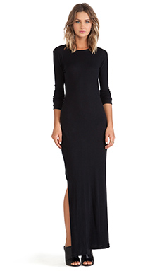 Enza Costa Cashmere Side Slit Maxi Dress in Black