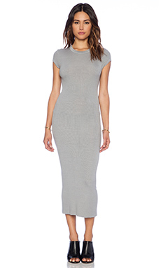 Enza Costa Rib Cap Sleeve Dress in Cement