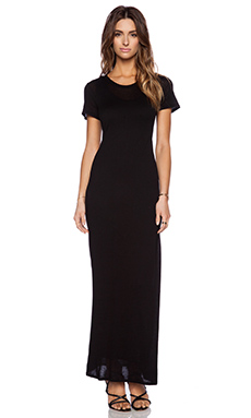 Enza Costa Double Shortsleeve Maxi Dress in Black