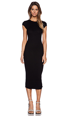 Enza Costa Rib Cap Sleeve Dress in Black
