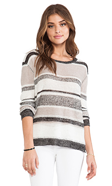Enza Costa Linen Gauze Stripe Scoop Sweater in Varigated Stripe