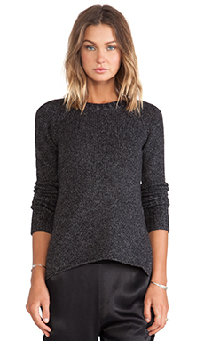 Enza Costa Merino Cashmere Cuffed Crew Knit in Marled Charcoal
