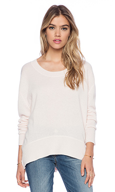Enza Costa Cashmere Loose Crew in Oyster