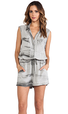 Enza Costa Sleeveless Romper in Grey Crackle
