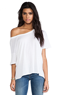 Enza Costa Tissue Jersey Drop Shoulder Short Sleeve in White