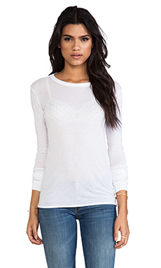 Enza Costa Bold Long Sleeve Crew in White
