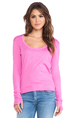 Enza Costa Tissue Jersey Long Sleeve in Shocking Pink