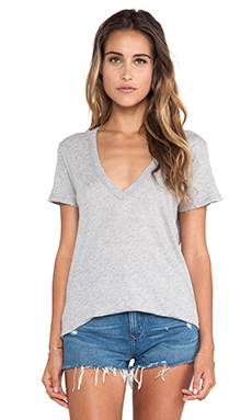 Enza Costa Melange Jersey Loose Short Sleeve V Neck Tee in Light Heather Grey