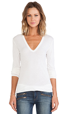 Enza Costa Tissue Jersey Bold Long Sleeve U Neck in Marshmallow