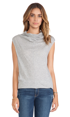 Enza Costa Sleeveless Cowl Top in Heather Grey