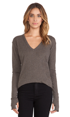 Enza Costa Cashmere Loose V Sweater in Major Brown