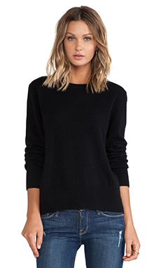 Enza Costa Cashmere Slim Crew in Black