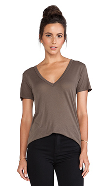 Enza Costa Loose Short Sleeve V Tee in Major Brown