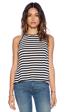 Enza Costa Cropped Tank in Black & White
