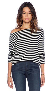 Enza Costa Cashmere Boat Neck Long Sleeve in Ash & Black