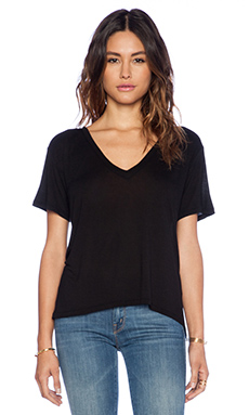 Enza Costa Boy Short Sleeve V Tee in Black