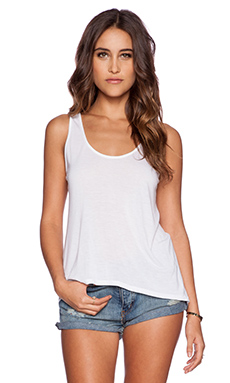 Enza Costa Scoop Tank in White