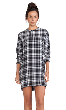 Equipment Owen After Dark Plaid Dress in True Black & Bright White