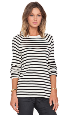 Equipment Lucien Striped Crewneck Sweater in Ivory & Black