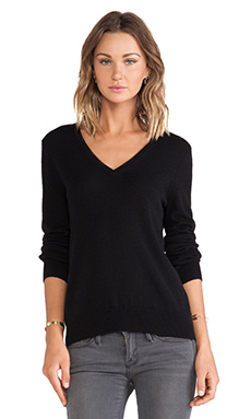 Equipment Cecile V Neck Sweater in Black