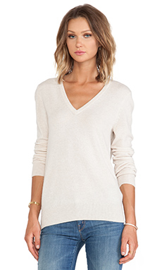 Equipment Cecile V Neck Sweater in Heather Oatmeal