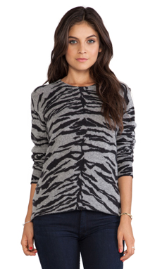 Equipment Sloane Asian Tiger Crew Neck in Heather Grey & Black