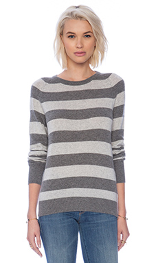 Equipment Sloane Lurex Stripe Crew Neck in Heather Grey & Light Heather Grey