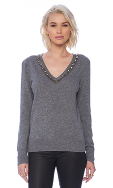 Equipment Cecile Necklace Embellishment V-Neck Sweater in Heather Grey