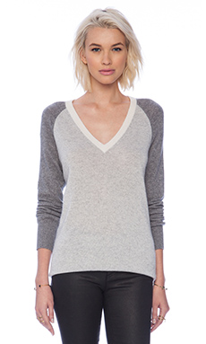 Equipment Asher Colorblocking V-Neck Sweater in Light Heather Grey Multi