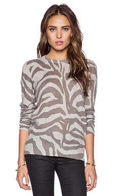 Equipment Shane Crew Neck Zebra Sweater in Heather Grey Multi