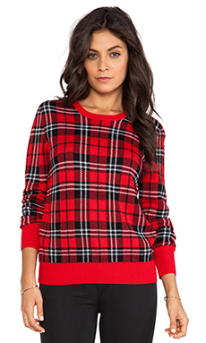Equipment Shane Scholarly Plaid Crewneck Sweater in Strawberry Red Multi