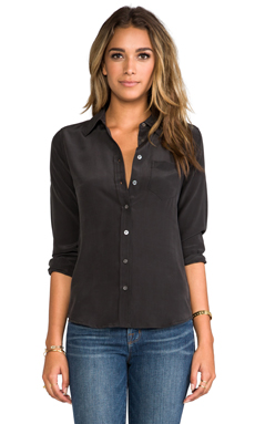 Equipment Brett Vintage Washed Blouse in Black