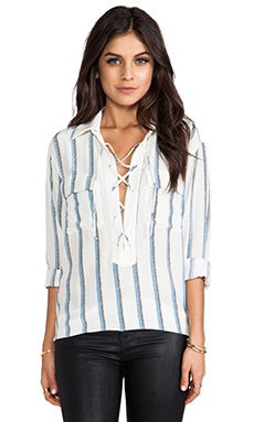 Equipment Knox Experimental Stripe Blouse in Nature White & Klein Blue