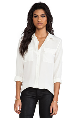 Equipment Slim Signature Blouse in Nature White