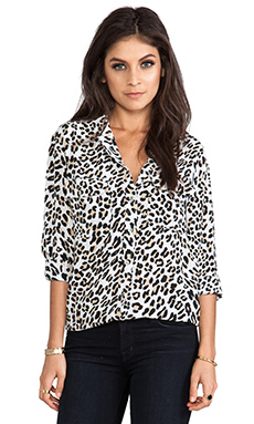 Equipment Signature Modern Leopard Printed Blouse in Bright White