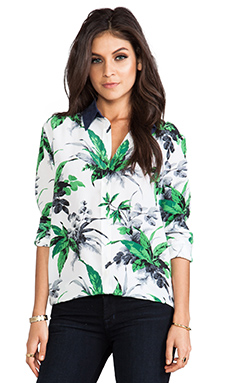 Equipment Reese Paradise Palm Print Blouse in Bright White