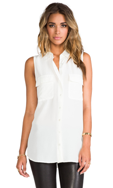 Equipment Sleeveless Signature Blouse in Nature White